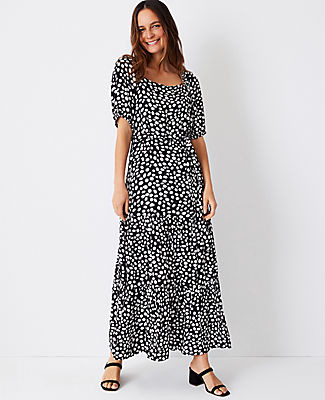 Ann Taylor Animal Print Puff Sleeve Belted Midi Dress