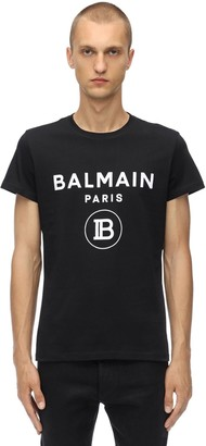 Balmain Flocked Cotton Jersey T-shirt