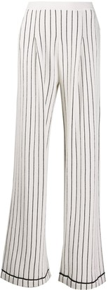 Barrie Striped Cashmere Wide-Leg Trousers