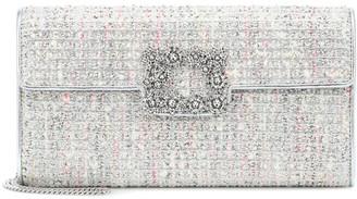 Roger Vivier Envelope Flower Buckle tweed clutch