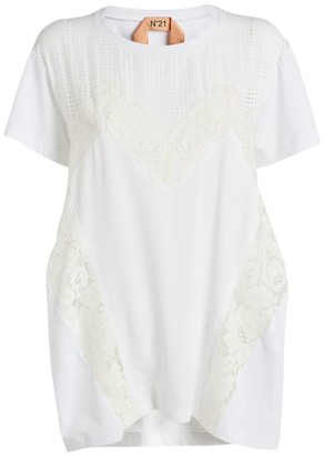 No.21 N21 Floral Lace-Insert T-Shirt