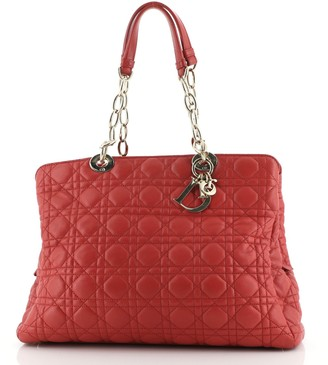 Christian Dior Soft Zipped Shopping Tote Cannage Quilt Lambskin Large