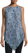 Max Studio Printed Accordion Pleated Tunic, Blue/Green