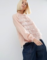 Asos Top With Fringe Front Detail