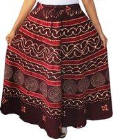 Maple Clothing Cotton Batik Printed Womens Long Skirt India Clothing (Maroon)