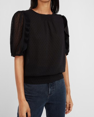 Express Puff Sleeve Swiss Dot Banded Top