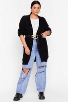 Nasty Gal Womens We'll Work Knit Out Plus Longline Cardigan - black - 16