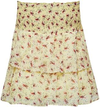 Miss Selfridge Yellow Ditsy Floral Print Chiffon Rara Skirt