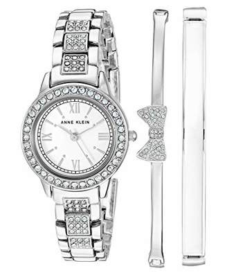 Anne Klein Women's Swarovski Crystal Accented -Tone Bracelet Watch and Bangle Set