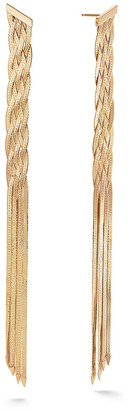 Lana 14k Braided Liquid Linear Fringe Earrings