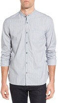 John Varvatos Trim Fit Stripe Band Collar Sport Shirt