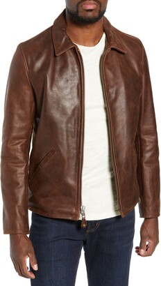 Schott NYC Waxy Naked Buffalo Leather Delivery Jacket