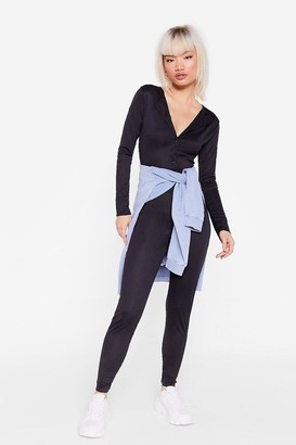 Nasty Gal Womens Right Button Track Petite Fitted Jumpsuit - Black