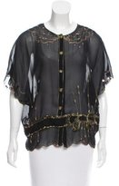 Tsumori Chisato Embroidered Sheer Top
