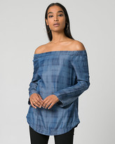 Le Château Check Lyocell Off-the-Shoulder Blouse