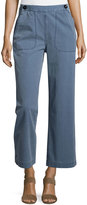 MiH Jeans Wide-Leg Nautical Pants, Salty Blue