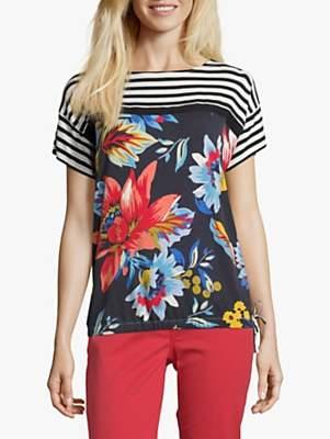 Betty Barclay Floral Ribbon Tie T-Shirt, Dark Blue/Cream