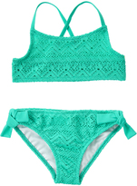Crazy 8 Teal Mesh Cockatoo Bikini Top & Bottoms - Girls