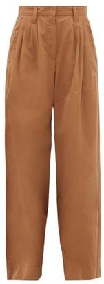 Brunello Cucinelli Wide-leg Cotton-poplin Trousers - Mid Brown
