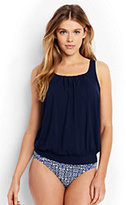 Lands' End Women's Blouson Tankini Top-Deep Sea/White Media Stripe