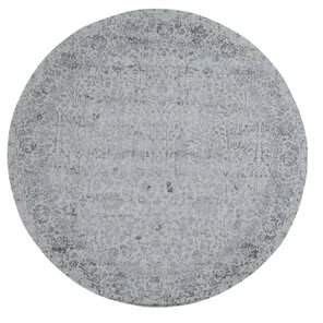"""Nessa Charlton Home One-of-a-Kind Jacquard Broken Cypress Tree Thick and Plush Hand-Knotted Round 7'9"""" Wool/Silk Gray Oriental Area Rug Charlton Home"""
