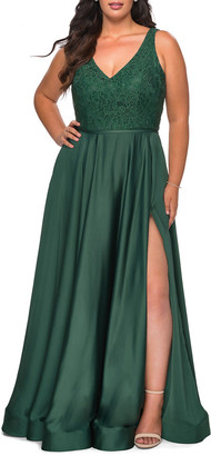 La Femme Plus Size V-Neck Satin & Lace A-Line Gown