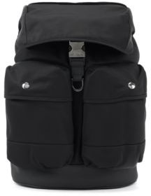 HUGO BOSS Multi Pocket Backpack In Nylon Gabardine With Flap Closure - Black