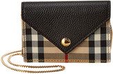 Burberry Jade Vintage Check & Leather Card Case On Chain