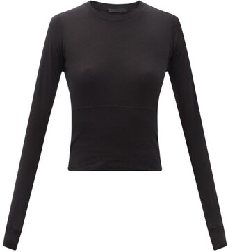 Wardrobe NYC Release 06 Long-sleeved Cropped Cotton-jersey Top - Black