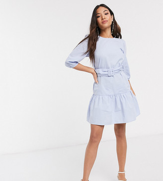 New Look Petite belted poplin volume sleeve mini dress in light blue