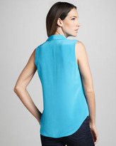 Neiman Marcus Cusp by Perla Stud-Button Blouse