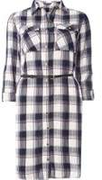 Dorothy Perkins Womens **Tall Check Belted Shirt Dress- Blue