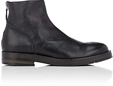 Barneys New York Men's Leather Back-Zip Boots - Black