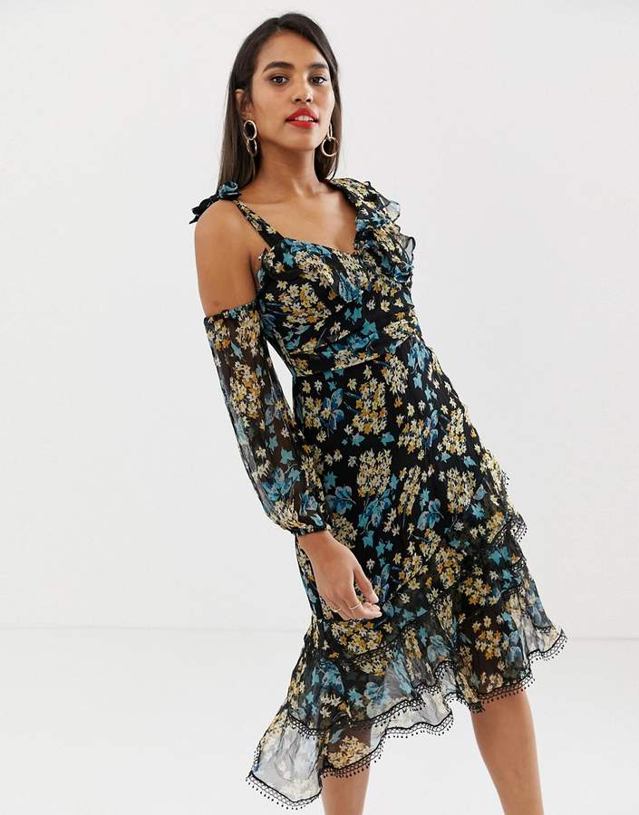 Talulah Stormy Dawn asymmetric floral dress