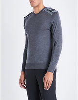 Neil Barrett Military Wool Silk And Cashmere-blend Jumper