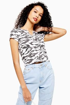Topshop Womens Tall Tiger Print T-Shirt - Monochrome