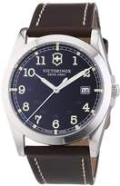 Victorinox Men's Classic Infantry Quartz Watch with Grey Dial Analogue Display and Brown Leather Strap