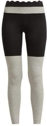 Track & Bliss - Scalloped-trim Stretch Leggings - Womens - Black
