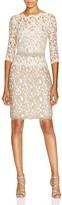 Tadashi Shoji Dress - Three Quarter Sleeve Illusion Neck Lace