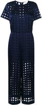 Diane von Furstenberg sheer grid jumpsuit - women - Polyester/Rayon - 6