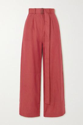 BONDI BORN Belted Linen Wide-leg Pants - Claret