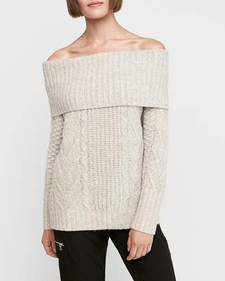 Express Cable Knit Off The Shoulder Sweater