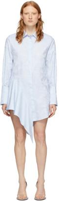 Off-White Blue Waves Asymmetrical Dress
