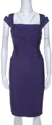 Herve Leger Purple Sleeveless Bandage Dress L