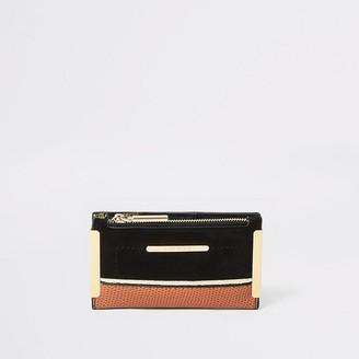 River Island Black faux suede mini foldout purse