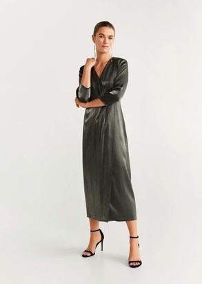 MANGO Metallic gown dark grey - 4 - Women