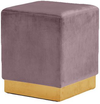 Jax Velvet Ottoman/Stool, Pink, Gold Base