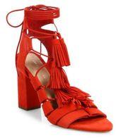 Loeffler Randall Luz Tassel Suede Ankle-Tie Block Heel Sandals