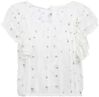 LoveShackFancy Lace-trimmed Ruffled Floral-print Cotton Top