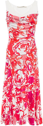 Roberto Cavalli Ribbed-paneled Printed Stretch-jersey Midi Dress
